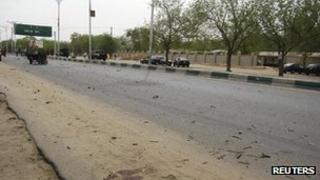 """The road leading to the entrance of the police headquarters in Nigeria""""s northeastern city of Maiduguri"""