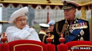 The Queen and Prince Phillip on the royal barge