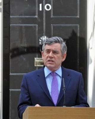 Gordon Brown outside No 10 in May 2010