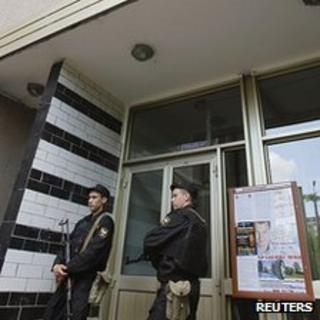 Armed police outside apartment block where Alexei Navalny lives