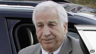 Jerry Sandusky arrives at the courthouse in Bellefonte, Pennsylvania 11 June 2012