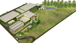 Artist's impression of planned biomass power station in Snetterton