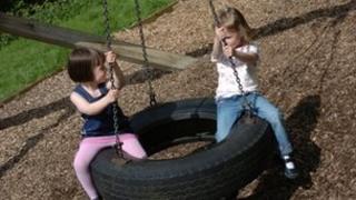 Children on a tyre swing