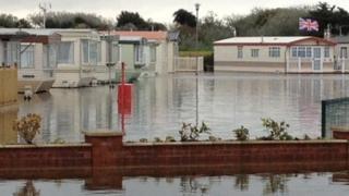 Flooded caravan park in Bracklesham