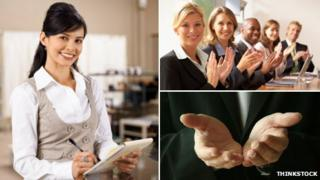 (Clockwise) woman smiling; people in a business room clapping; outstretched hands