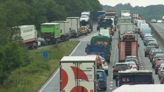 Motorway tailbacks on M3