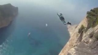 Another base jumper leaps from the same cliff as Mr Simkins