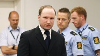Anders Behring Breivik in court in Oslo, 12 June