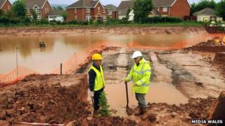 Archaeologists Paul Davies (left) and Steve Clarke at the site in Monmouth