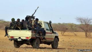 Niger's army forces patrol near the new UNHCR Imbaidou refugee camp