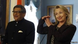 SM Krishna and Hillary Clinton at their joint press conference in Washington on 13 June 2012