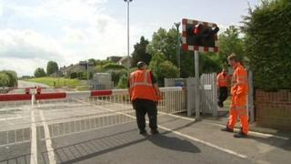 Level crossing with barriers down