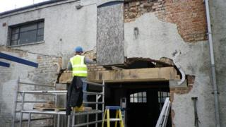 Work underway at the old Fleece Hotel in Gloucester