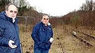 Men on disused railway line in Radstock