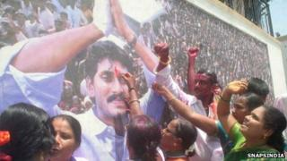 Jagan Mohan Reddy's supporters celebrate election results on 15 June 2012