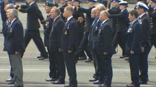 Falklands veterans at HMS Raleigh parade