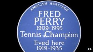 English Heritage blue plaque for Fred Perry