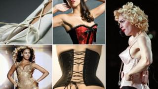 Clockwise (left to right) close-up of lacing on back of white corset; woman wearing red and black corset; Madonna in 1990 wearing a Jean Paul Gaultier corset; woman wearing black corset; Beyonce wearing gold corset