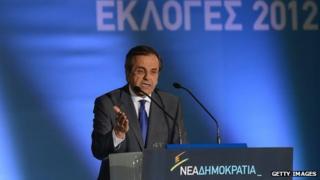 New Democracy leader Antonis Samaras addressing final campaign rally (15 June)
