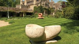 Stone sculptures in the grounds of Asthall Manor