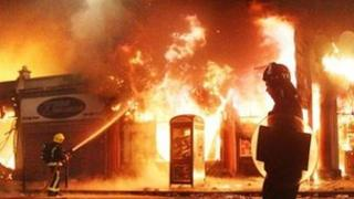 Buildings on fire in Tottenham during riots
