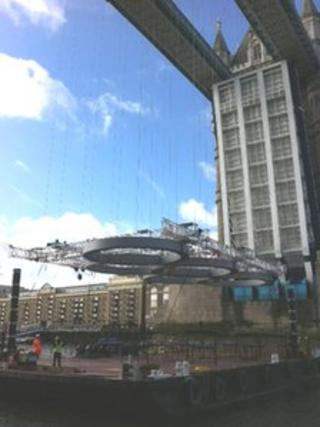 Olympic rings going up on Tower Bridge