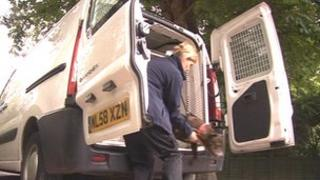 Dog being taken from Hull dog warden van