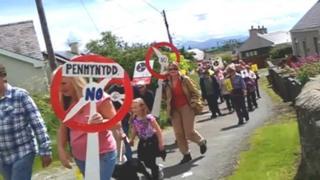 Llanddona protest march