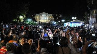 Election night in Greece