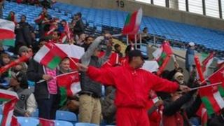 Oman fans at Olympic football test event