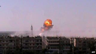 Explosion over Syrian city of Homs