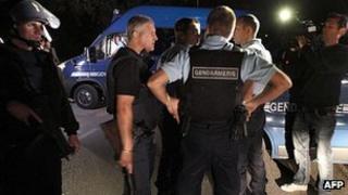 Gendarmes at scene of shooting, 18 Jun 12