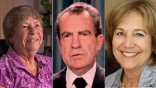Judy Hoback (l), Richard Nixon (m), Debbie Sloan (r)