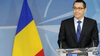 Victor Ponta at NATO headquarter in Brussels, on May 10, 2012