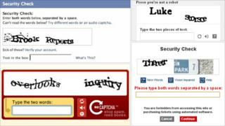 Captcha images (from top left, clockwise) Facebook, YouTube, Ticketmaster, Captcha