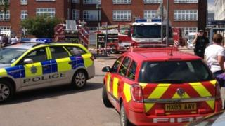 Fire crews at St Richard's hospital in Chichester