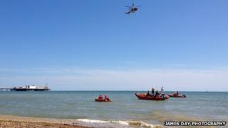 Search off Brighton for swimmer