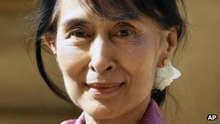Aung San Suu Kyi in Oxford as part of her tour of the UK, on Tuesday