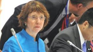 Catherine Ashton at the second day talks on Iran's nuclear programme in Moscow on 19 June 2012