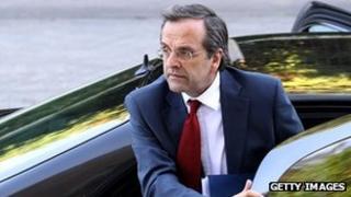 New Democracy leader Antonis Samaras, 18 June