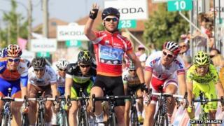 Britain's world champion Mark Cavendish winning the 13th stage of the Giro d'Italia in May