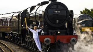 Josephine Loughran on the Scots Guardsman steam locomotive