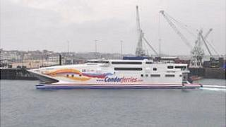 Condor Vitesse ferry in Guernsey's St Peter Port Harbour