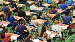 Teenagers taking exams
