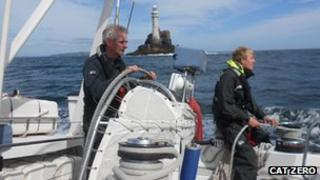 Skipper and youngster on yacht