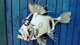 'BMW' hub-cap fish by Ptolemy Elrington