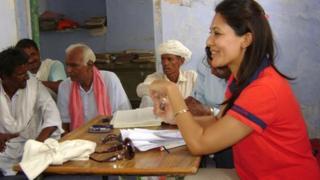 Chhavi Rajawat chairing the village council meeting in Soda