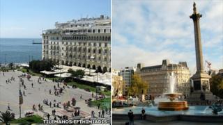 Aristotle Square, Thessaloniki, and Trafalgar Square, London