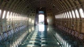 Inside the fuselage