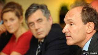 (left to right) Martha Lane Fox, Gordon Brown, Tim Berners-Lee
